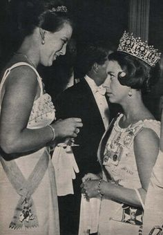 Crown Princess Margrethe of Denmark with Princess Margaret.