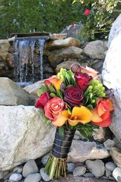 Modern Rustic Shabby Chic Black Brown Burgundy Gold Green Red Yellow Bouquet Fall Wedding Flowers Photos & Pictures - WeddingWire.com