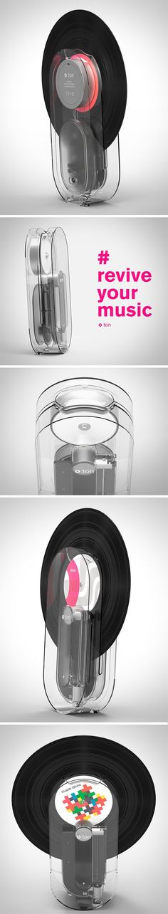 """Introducing """"o-ton"""", a vertical, wireless turntable which lets you import and digitally enhance your vinyl records. It's almost entirely translucent, so you can see all the inner workings and, of course, your vinyl's unique cover art. The design features a digital stylus that automatically turns your device on if you insert a vinyl."""