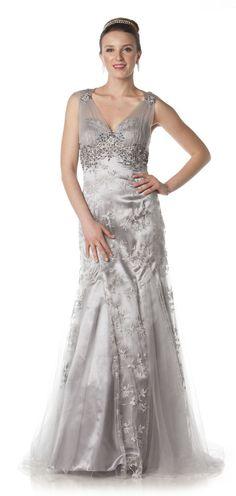 Best Elegant Long Mother of Bride dress in color Silver White u more V Neckline