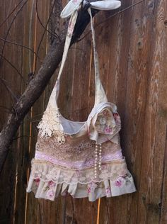 Shabby chic, romantic, farm girl, country chic, cowgirl, ruffle, lace, doilies, pearls, beads, bag, purse. $45.00, via Etsy.