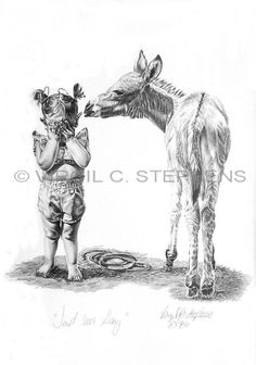 Just 'Ear Say, children series of a little girl and her donkey pencil drawing by western Artist Virgil C. Stephens