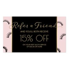 Lots of Lashes Lash Salon Pink/Black/Gold Referral Business Card