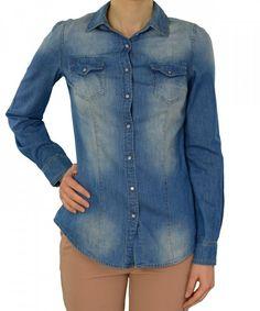 Γυναικείο πουκάμισο HG τζιν H5200 #γυναικείαπουκάμισα #ρούχα #στυλάτα #fashion #μόδα #γυναίκες #βραδυνά #μεταξωτά Denim Button Up, Button Up Shirts, Tops, Women, Fashion, Moda, Chemises, Shell Tops, Fasion