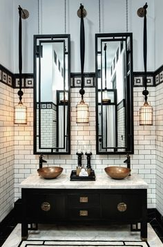 Steampunk: art deco, vintage inspired lighting, mirrors, cabinetry.