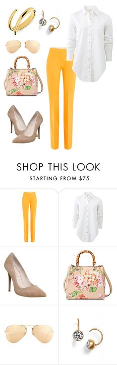 """Amarelo"" by regnovo on Polyvore featuring moda, Victoria, Victoria Beckham, rag & bone, Office, Gucci, Ray-Ban, Marc by Marc Jacobs e Calvin Klein"