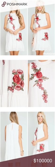 Stunning fully lined woven embroidered dress! A vision in white with modern floral embroidery the perfect dress for spring! Mock neck - back button closure - fully lined light ruffled hem. Dresses