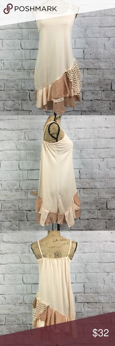 """Boutique Multi Fabric BOHO Layering Tank/Cami Boutique Multi Fabric BOHO Layering Tank  Preloved in excellent condition Wow what a top can be worn with jeans or all alone  in the comfort of home just lounging around on a lazy day...  Measurement: Pit to Pit 18"""" Length 33""""  Bundle and save Pretty Angel Tops Tank Tops"""