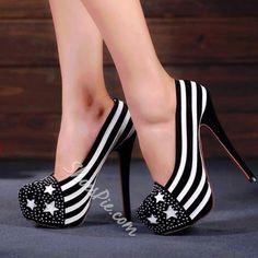 Shoespie - Shoespie Perfect Zebra Rhinestone Platform Stiletto Heels - AdoreWe.com