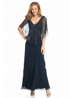 Jkara Women's Gown With Sheer Beaded Capelet -  - No Size