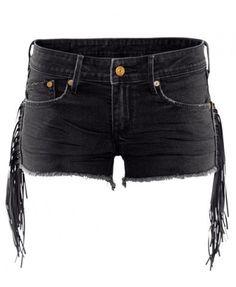 Frayed Edges Denim Shorts with Tassel Side
