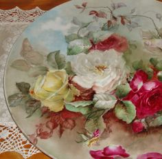 """Antique Limoges France Hand Painted Porcelain Huge 16"""" Charger Tray from theverybest on Ruby Lane"""