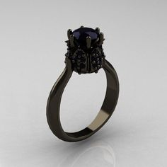 14K Black Gold 1.0 Carat Black Diamond Tulip Solitaire Engagement Ring