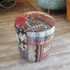Kilim Round Chairl, Upholstered with Vintage Overdyed Rug/ Patchwork Chair