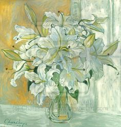 White Lilies by CharskayaLucya (print image) White Lilies, Lily, Pastel, Watercolor, Canvas, Moscow, Artist, Painting, Deviantart