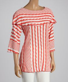 This Coral & White Stripe Off-Shoulder Top - Women & Plus by Come N See is perfect! #zulily.com finds, 3XXX for $29.99 retail value $64.00