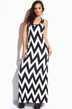 94b88bd99b9 Plus Size Black   White Chevron Print Maxi Dress size 1XL