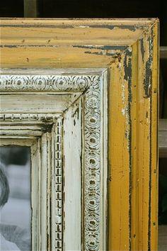Distressed frames by Darío SP Distressed Picture Frames, Painted Picture Frames, Antique Picture Frames, Old Frames, Yellow Picture Frames, Rustic Frames, Wooden Frames, Mirror Painting, Wood Painting Art