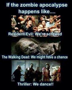 Resident Evil vs The Walking Dead vs Thriller - TWD Walking Dead Zombies, Walking Dead Memes, Zombie Walk, Zombie Dance, Zombie Life, Zombie Squad, Zombie News, Resident Evil, Zombie Apocalypse Survival