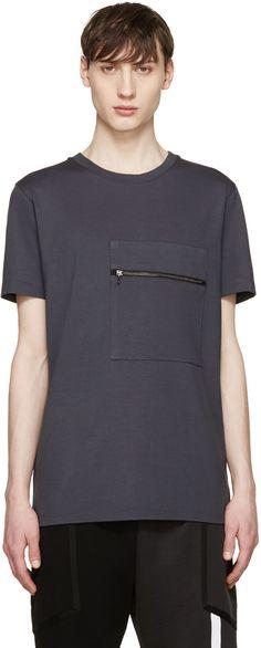 Pyer Moss - SSENSE Exclusive Grey Pocket Zip T-Shirt