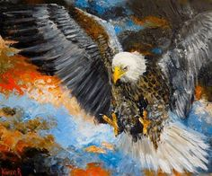 "Daily Paintworks - ""Stormy Eagle"" - Original Fine Art for Sale - © Karen Robinson"