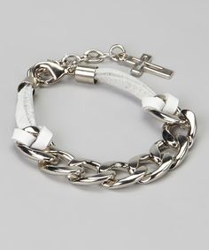White & Silver Cross Chain Link Bracelet #zulily #zulilyfinds $7.99 I'd take the cross off and add some other sort of bauble.