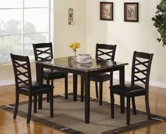 5pc Dining Table Set with Faux Marble Top in Brown Cherry Finish - Click pics for price <3