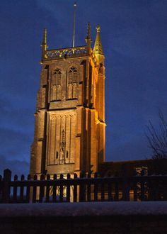 St John the Baptist Church after dark. The Tower is lit every Saturday and for a small cost to the Friends of Colerne Church is lit on other days of the week
