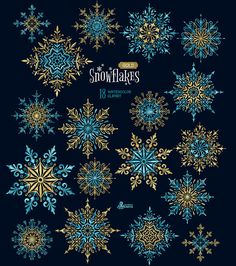 18 Watercolor separate Elements clipart christmas blue golden holiday card d Snow Flake Tattoo, Snow Tattoo, Painted Rocks, Hand Painted, Christmas Clipart, Zentangle, Christmas Projects, Winter Holidays, Background Images
