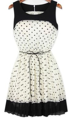 White Polka Dot Patchwork Pleated Belt Chiffon Dress