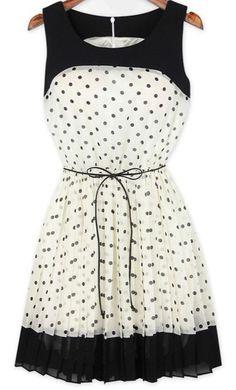 ♛ Bolinhas Branco Plissado Retalhos Cinto Seda Vestido ♛ / ♛ White Polka Dot Patchwork Pleated Belt Chiffon Dress ♛