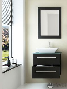 """The 24"""" Carina Single Wall-Mounted Vanity is made from highly durable natural #oak, so it will stand the test of time and look good doing it! The vanity provides ample #storage space within a sliding drawer, which feature a built-in soft-close system to prevent superficial damages and keep the drawer sliding smoothly. The steel handles are attractive accents on the vanity's face, and the #countertop provides plenty of style with very few maintenance needs.  MSRP $898.50"""
