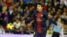 "Lio ""The King"" Messi, FC Barcelona.   Valencia 1-1 FC Barcelona. >Festejando su anotación de penalti< 2013-02-03."