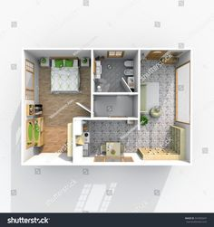 #3d #interior #rendering of #furnished #rectangular #home #apartment