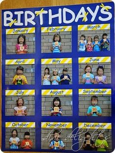 Education/Kindergarten/Preschool Classroom Birthday Picture Chart Free Printable How To Choose The R Beginning Of School, New School Year, Back To School, Primary School, Middle School, High School, Classroom Organisation, Classroom Displays, Daycare Organization