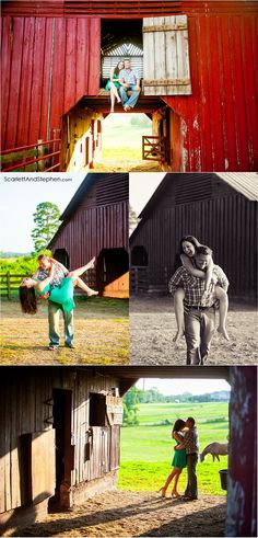 Engagement inspiration! A big red barn engagement session on a horse farm!   Scarlett & Stephen | Tennessee Engagement Photographers