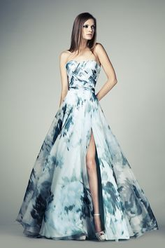 Tony Ward RTW SS14 I Style 28 I Ocean Blue evening dress with a side slit made of printed Silk Organza, with crossed Organza applique bands on the bust
