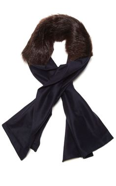 Shop Long Fur & Cashmere Scarf by Vanities Now Available on Moda Operandi