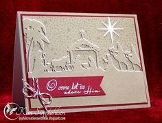 O Come in Red from Joyful Creations with Kim using the Nativity Border die from Taylored Expressions.