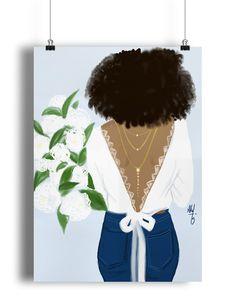 The bride loves denim, jewels and white flowers -- Nicholle Kobi / Niki's Groove Black Girl Art, Black Women Art, Art Girl, African American Art, African Art, Illustrations, Illustration Art, Arte Black, Art Et Design