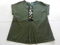 Simply Vera Womens Sz XL Top Blouse Cap Sleeve Dark Green Decorative Front