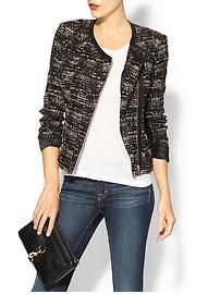 Rebecca Taylor Boucle & Leather Blazer at Piperlime is ideal for casual Fridays at the office. #womensfashion2013