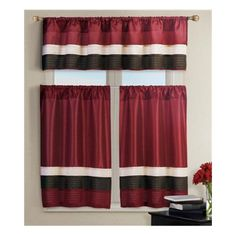 Pintucked Kitchen Window Curtain Set 2 Tier Panel Curtain and 1 Valance: Burgundy, Teal, Chocolate Brown, Pure White (Burgundy Red) Victoria Classics http://www.amazon.com/dp/B00CUG1WH2/ref=cm_sw_r_pi_dp_iDmdvb1Y0D87X