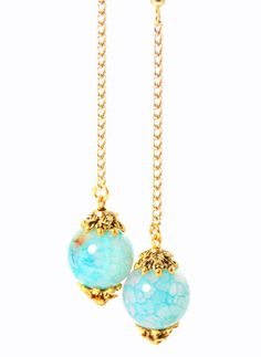 Light Blue Agate, Long Gold Chain, Ball Drop Dangle Earrings (Clip On Optional) by KMagnifiqueDesigns on Etsy.com