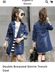 dc719fb57c4a 2017 Girls denim Jackets Fashion Double-Breasted Denim Coats New Kids  Trench Coat For Girl Long Jackets Autumn Children Clothing