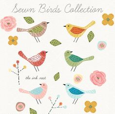 CLIP ART - Sewn Birds Collection - for commercial and…