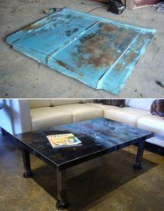 Car Hoods Make Amazing Coffee Tables