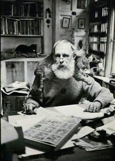 Edward Gorey. Graphic novelist and enthusiastic cat lover.