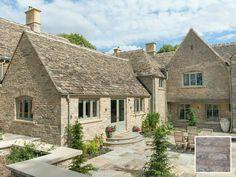Stone Exterior Houses, Dream House Exterior, Stone Houses, Country Farmhouse Exterior, Cottage Exterior, Cotswold House, Cotswold Cottages, Interesting Buildings, Beautiful Buildings
