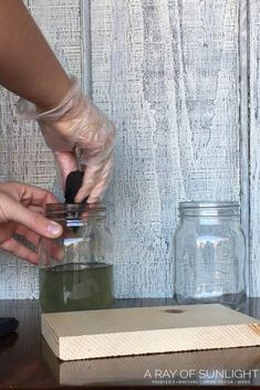 How to give wood a weathered look for your farmhouse style diy furniture projects and crafts! This DIY weathered wood stain creates the perfect grey weathered stain look when you don't have access or the budget for real weathered wood. Upcycle and redo furniture with weathered wood like a painted dresser with stained top, all weathered wood tables and chairs, DIY bedroom furniture and more! By A Ray of Sunlight #weatheredwood #furnitureredo #woodworking #farmhousestyle Chalk Paint Furniture, Diy Furniture Projects, Weathered Wood Stain, Distressed Wood, Diy Bedroom, Bedroom Furniture, Minwax Stain, Distilled White Vinegar, How To Make Diy